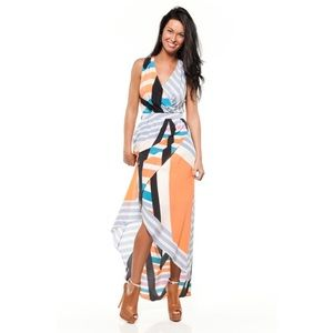 Charlie Jade Creamsicle Wrap Flowy Maxi Dress